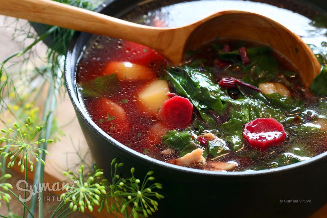 sriuba iš daržo jauni burokėlių lapai
